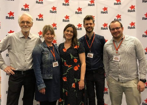 Synne Bjørbæk, Brigt Kristensen, Andreas Tymi og Linda Forsvik deltok på landsmøtet til Rødt i helga.