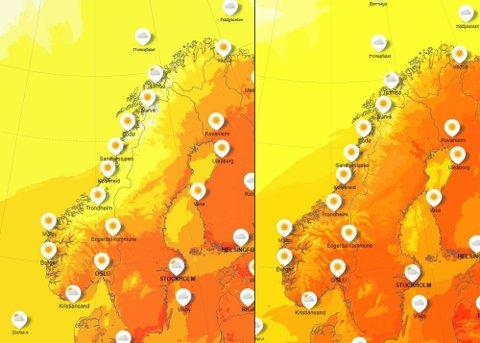 Kartet gir en oversikt over temperaturer tirsdag, mens det til høyre viser temperaturer fredag. Gult viser til en temperatur på 5-10 grader, mørkegult viser 10-15 grader, oransje er 15-20 grader og rødt viser 20-25 grader. Som man kan se på kartet er det ventet at temperaturene vil stige inn mot helgen.