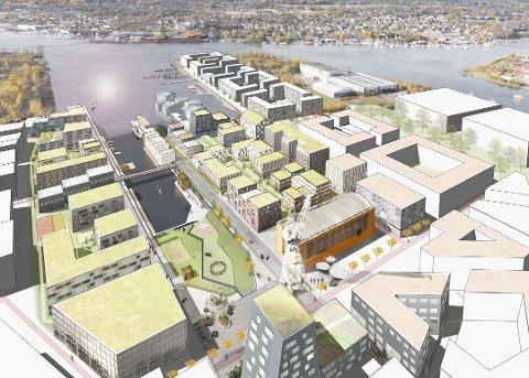 Jotnes visjon på FMV: Det tidligere FMV-området, Værste og Jotne (på tegningen) kan dekke en større del av Fredrikstads boligbehov i mange år fremover. (Illustrasjon: Jotne Eiendom)