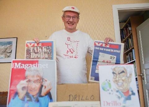 DRILLO-EKSPERTEN: Øystein Andersen sitter i Østsidens arkivkomité og det har han gjort siden 1980. De siste 30 årene har han samlet på alt av intervjuer med Drillo, og nå gleder han seg til filmen om landslagets suksess kommer.