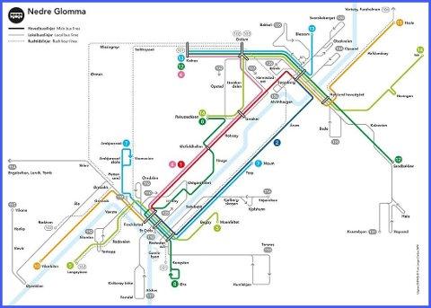 Slik går bussene i Nedre Glomma nå. De fargede linjene går ofte, de grå linjene går sjelden.
