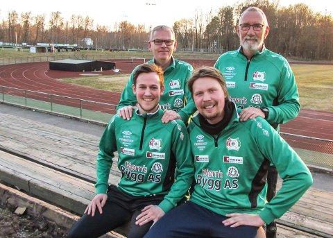 SERIESTART: 11. april kommer seriefavoritt Eik til Borrebanen for å møte laget til Eirik Riisnæs (foran t.v.) og Jørgen Moen Hansen. Bak står lagets mentor Jan-Eddie Hansen og lagets ene kampleder Trond Sørensen.