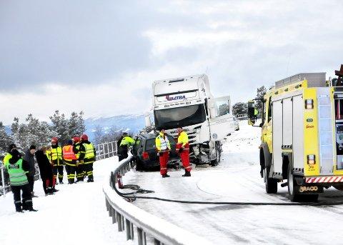 KOLLISJON: En 23 år gammel mann fra Eritrea omkom i ulykken på E 136 på Lesja.