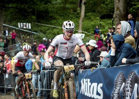 4.PLASS I VM: Petter Fagerhaug fra Lillehammer cykleklubb, syklet fredag inn til 4. plass i VM i terrengsykling rundbane. Klubbkamerat Erik Hægstad ble nummer 19.