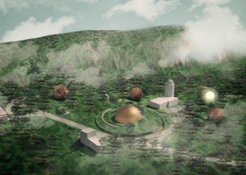SOLOBSERVATORIET: Planetariet omringet av overnattingsplaneter, soltårnet og satelitthuset.