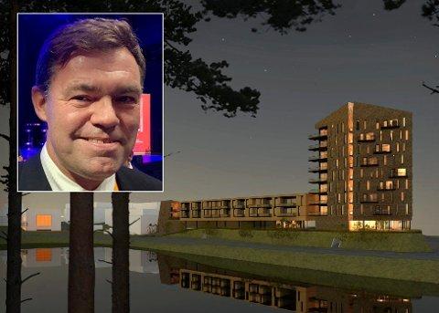 FRYKTER FORSINKELSE: Utbygger Frederik Skarstein håper fortsatt på framdrift uten store forsinkelser for tårnhuset på Jevnaker.