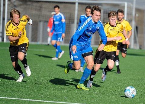 SCORET: Bjørn-Henrik Ekeli var til tider en håndfull for mye, og scoret da Idd tok et viktig poeng hjemme mot Moss 2.
