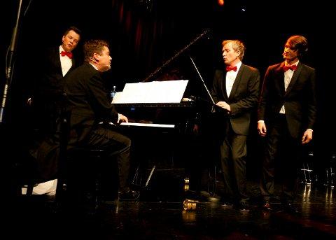 TENORANE. Fra konsert i Tysvær i 2014.  Fra v. Ola Marius Ryan (ikke med lenger), Steffen Horn ved pianoet, Aasmund Kaldestad og Henrik Hundnes. Nå gjør de to konserter i Festiviteten og får betalt for én.