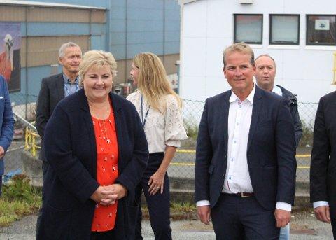 STATSMINISTEREN OG STORTINGSREPRESENTANTEN: Både Erna Solberg og Sveinung Stensland mener endringene i oljeskatten ikke vil føre til mindre forutsigbarhet for oljenæringen.