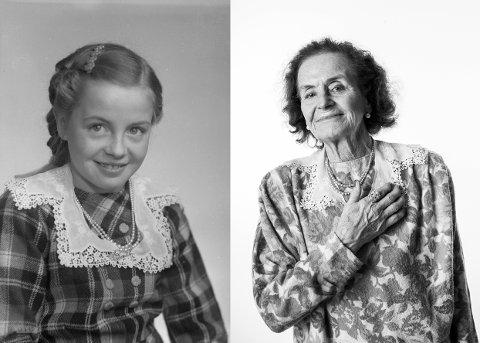 Berit Pauline Olderskog fotografert som ti-åring i 1953.  Blondekragen etter sin mor og perlesmykket hun fikk fra en   onkel i Amerika har hun den dag i dag.