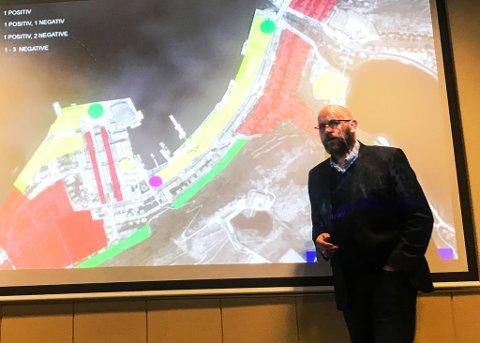ENKELT BUDSKAP: Direktør for Hammerfest næringsforening, Espen Hansen, bar fram et budskap om mer fleksibilitet for næringslivet. Skal sentrum vokse må man tillate høyere hus, konkluderte Jensen.