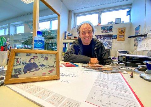 Da og nå: Det er noen år som skiller mannen på bildet og mannen som fortsatt koser seg på kontoret på Lierstranda. Man nå har Arve Skinstad bestemt seg for å pensjonere både seg selv og Technicas.