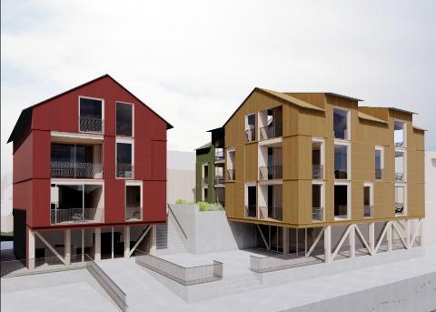 Vil satse: Slik har arkitektfirmaet LundHagem utformet det nye boligprosjektet i Henningsvær.