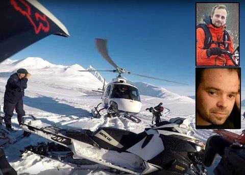 INITIATIVTAKERE: Håkon Haug Enga og Raymond André Halvorsen er blant initiativtakerne til Norsk Snøscooterforening og demontrasjonen på E8 neste mandag. Dette bildet er tatt da politiets helikopter landet få meter fra Enga og kameratene i helga.
