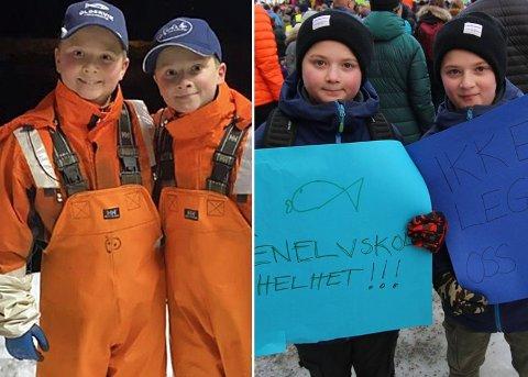 PROTESTERTE MOT SKOLEKUTT: Karl (tv) og Kornelius Jungen Hansen deltok på skolestreiken onsdag. På fritiden skjærer tvillingene torsketunger i Oldervika.