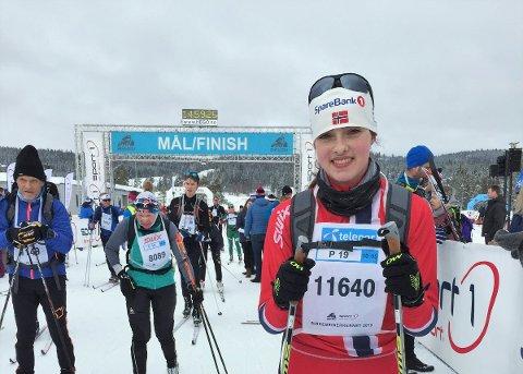 Liker å teste nye ting: Lise Marit Lien etter målgang.