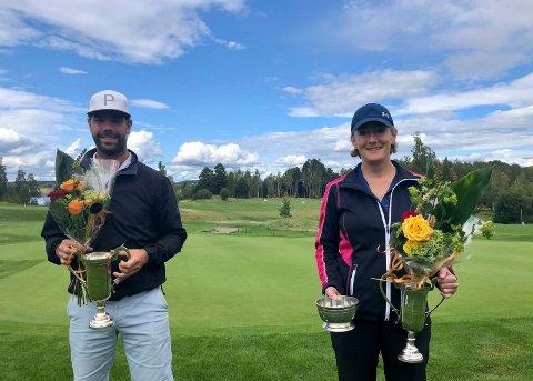 Holeværingene Petter Stensbye Skotvold og Mette Kyrvestad Ljåstad og er årets klubbmestere i Tyrifjord Golfklubb.