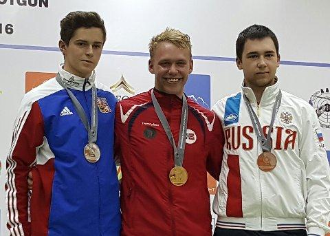 MERITTERT: Benjamin Tingsrud Karlsen har i en alder av 18 år hentet 22 individuelle medaljer i internasjonale konkurranser. Her fra juniorverdenscup-gullet i helmatch i Gabala 2016.