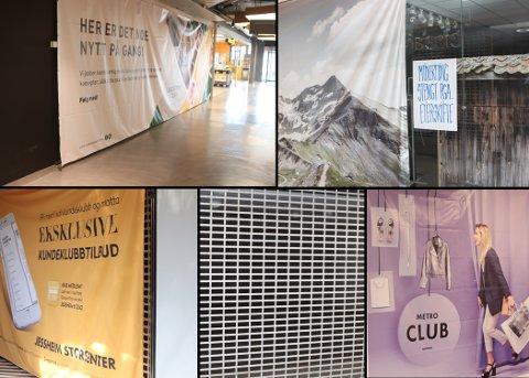 MANGLER LEIETAGERE: På flere av kjøpesentrene står lokalene tomme. Dette skjules ofte med generell reklame for senteret. Her fra Jessheim Storsenter, Lillestrøm Torv og Metro.