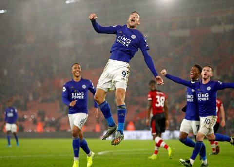 Leicester's Jamie Vardy celebrates scoring his side's ninth goal during the English Premier League soccer match between Southampton and Leicester City at St Mary's stadium in Southampton, England Friday, Oct., 25, 2019. (AP Photo/Alastair Grant)