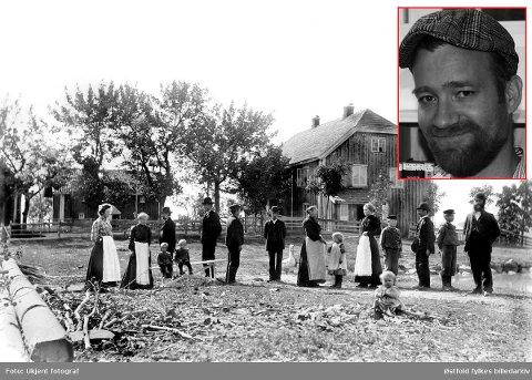 A. M. Abosch - var en jøde som ble deportert fra Skiptvet. Bilde fra gården Skaug i 1902. Mads Tangestuen (innfelt) skal fortelle om hans historie.