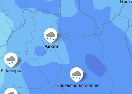 Ifølge Yr.no blir det vått i Indre Østfold i kveld og natt.