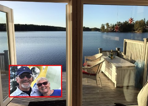 Helge og Arnhild Knutsen bare tripper etter å få reise over til denne utsikten, rett på andre siden av svenskegrensa, i Bengtsfors.
