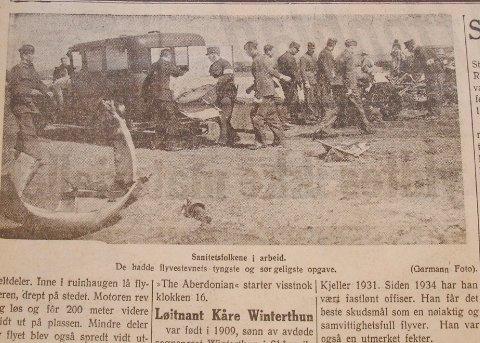 Den døde løytnant Kåre Winterthun blir fraktet bort av helsepersonell. Avissiden stod på trykk i Stavanger Aftenblad 1. juni 1937, dagen etter den fatale ulykken.