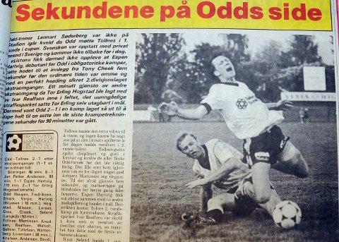STRAFFESPARK: Fellingen av Tor Erling Hogstad minuttet for ekstraomgangene var over ble avgjørende for at Odd slo Tollnes i 1984. Hogstad tok selv straffesparket som ga 2-1-seier.FAKSIMILE: TA