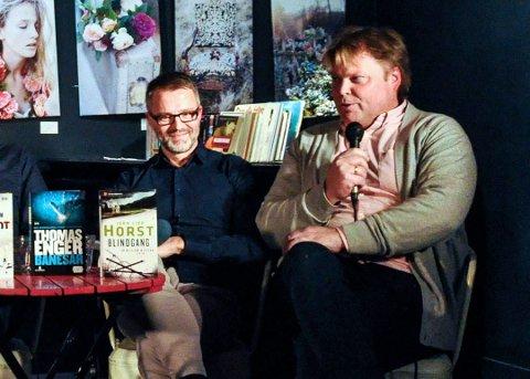 SAMARBEID: Thomas Enger og Jørn Lier Horst har møttes mye i litteratursammenheng. Nå skriver de krim sammen. Foto: Per Albrigtsen