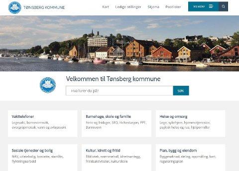 NY OG MODERNE: Slik vil  Tønsberg kommune møte innbyggerne på nett.