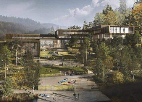 I følge invitasjonen til kongefamilien gir den nyskapende arkitekturen assosasjoner til trehusbyen i Tvedestrand.