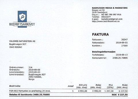 OPPFINNSOMT: Valdres Naturstein fikk denne falske fakturaen direkte i sin nettbank.