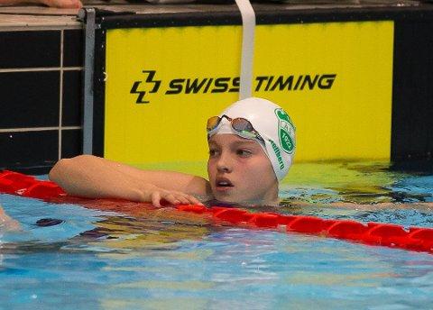 PUKKET UT TIL REGIONLAG: Karen Hellberg Munthe (14) fra Ås IL svømming.