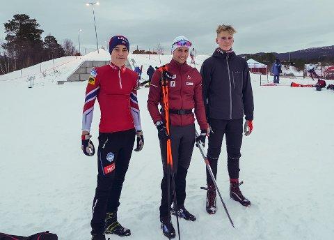 Tor Erling Aasprang (fra venstre), Nils Erik Ulset og Sondre Løkke Hagen gikk renn på Oppdal i helgen.