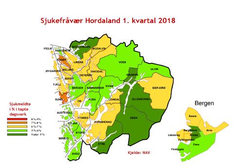Sjukefråvær i kommunene i Hordaland etter kart.