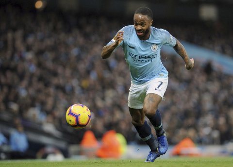 Manchester City's Raheem Sterling controls the ball during the English Premier League soccer match between Manchester City and Bournemouth at Etihad stadium in Manchester, England, Saturday, Dec. 1, 2018. (AP Photo/Rui Vieira)