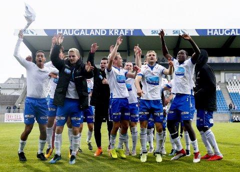 Haugesund-spillere jubler etter seieren mot Stabæk på hjemmebane tidligere denne sesongen.  Foto: Jan Kåre Ness / NTB scanpix