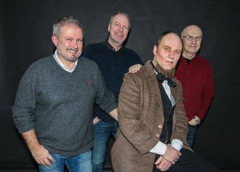 Hovedrollen i boks: Ole-Hermann Gudim Lundberg (fra venstre), Hans-Petter Thøgersen og Svein Gundersen er glade for at Erik Wenberg Jacobsen (med sløyfe og artig skjegg) har tatt hovedrollen som Hans Nielsen Hauge.