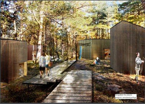 Vil flytte det planlagte hytteområdet: Bevø Bukt Eiendom har brukt et millionbeløp på å planlegge hytter. Skissen er fra saksdokumentene. Nå vil bystyret flytte feltet til nytt sted. (Illustrasjon fra planinitiativet til møtet i planutvalget i april 2019.)