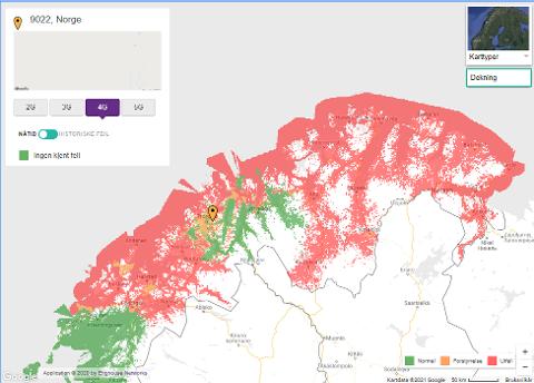 UTFALL: Store deler av Nord-Norge vil ha problemer med Telias 4G-dekning.