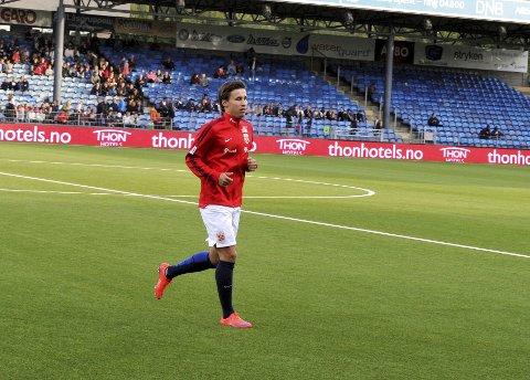 Anders Trondsen fra Lillehammer spiller fra start i tirsdagens kamp mot Slovakia. Foto: Erik Børresen