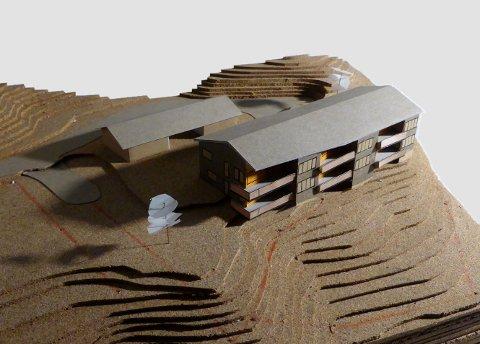 Modell av det nye leilighetsbygget som er planlagt på Marienhø-tomta i Ringebu.