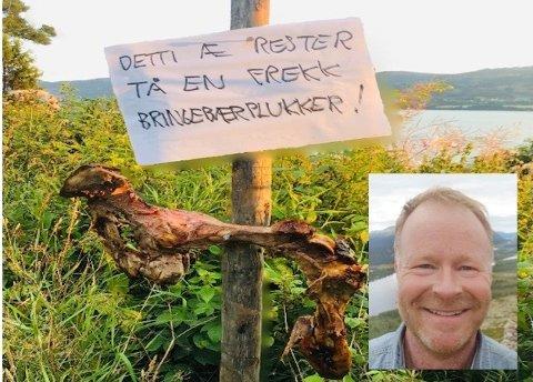 Åsmund Johannes Sletten satte opp et tilsyndelatende skremmende skilt ment for ubudne gjester i hagen sin.