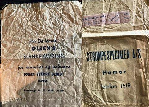 PAPIRPOSER: Papirposene fra Baker Olsen og Stømpespecialen AS.