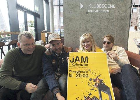 JAM: Husbandet for JAM i Kulturhuset, bestående av Ole Marius Randgaard, Ørnulv Snortheim og Bjørn Thomassen, sammen med pprogramansvarlig Hamar kulturhus, Mocci Ryen.