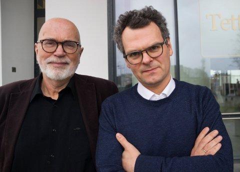 INNSATS FOR KLIMAET: - Å ha tro på framtiden er viktig, sier fra venstre Ståle Pedersen i Besteforeldrens Klimaaksjon og Alf H. Aronsen, Øyobiblioteket.