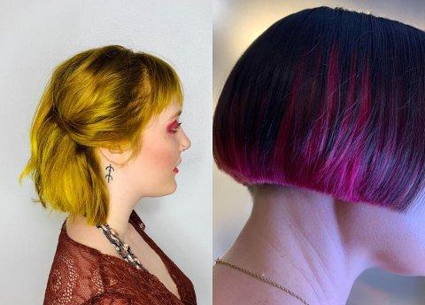 GULT OG LILLA: Kristine Årsvold har farget hår i sprelske farger til både unge og eldre.