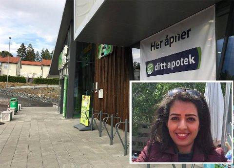 NYTT APOTEK: Nora Albakaa skal lede driften på det nye apoteket i Ove Gjeddes vei. De åpner 6. september.