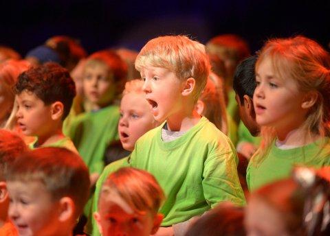 SANGFUGL: Sverre Tinjar fra Madsebakken skole hadde lært seg alle sangene godt før Sangskattekista-konserten.